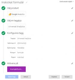 Konfigurering av tagg för inskickat formulär