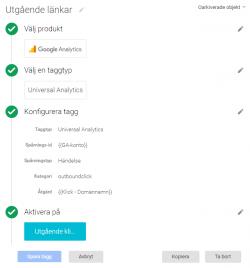 Konfigurering av tagg för utgående klick