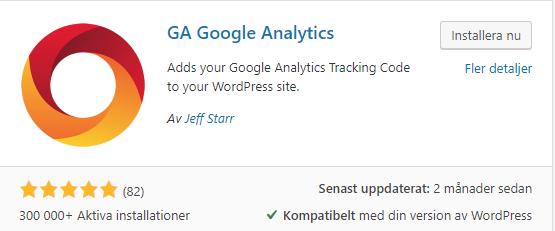 Google analytics Plugin för WordPress