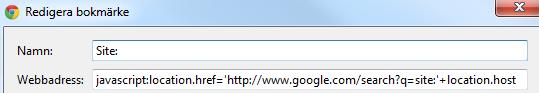 Site: sökning på Google
