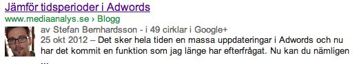 Google+ profil i Google SERP