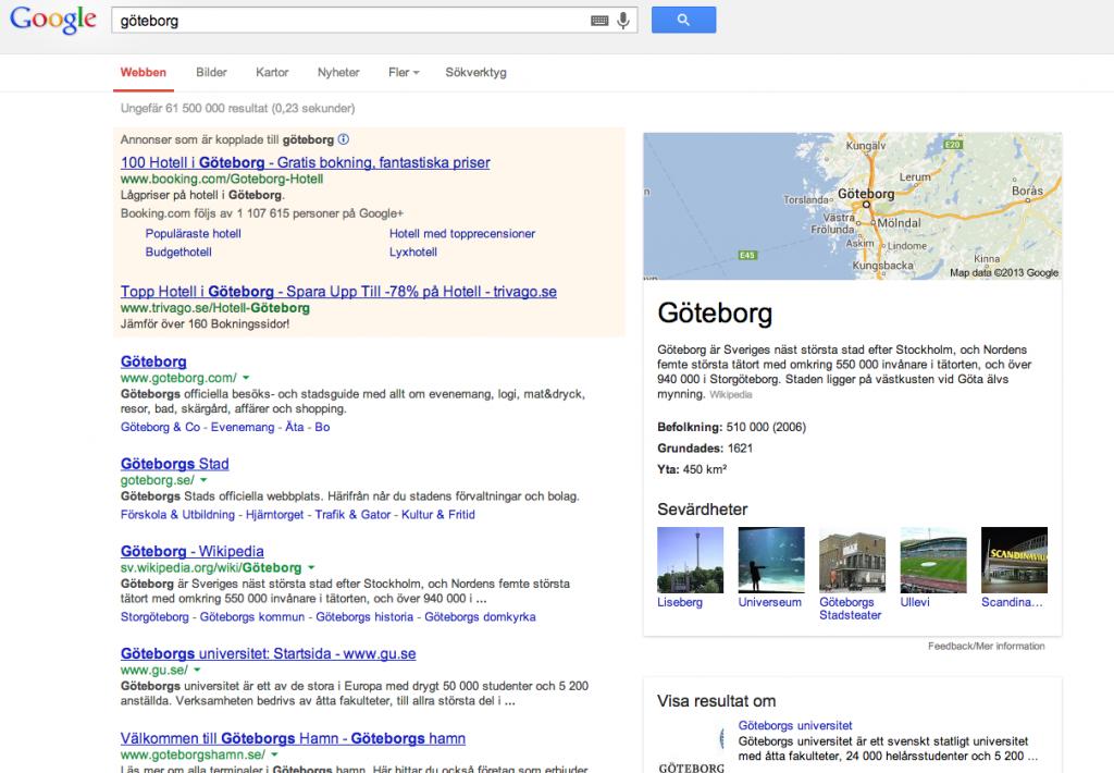 En Googlesökning på Göteborg