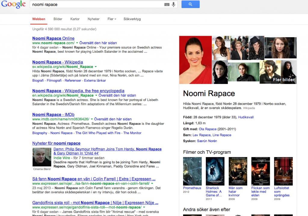 En googlesökning på Noomi Rapace