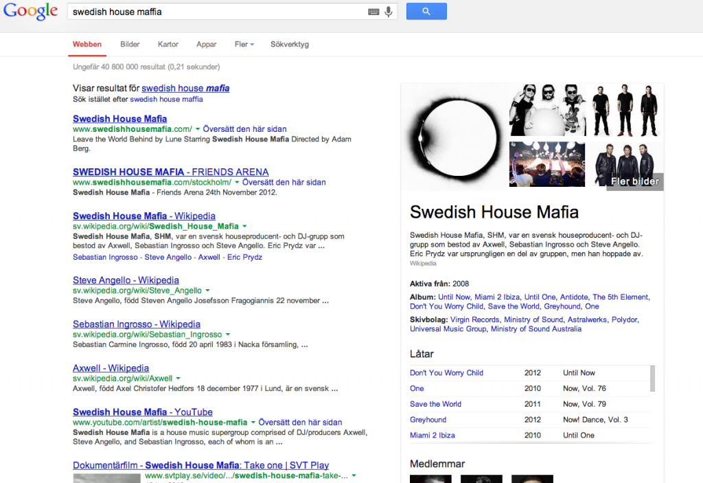 En googlesökning på Swedish House Mafia