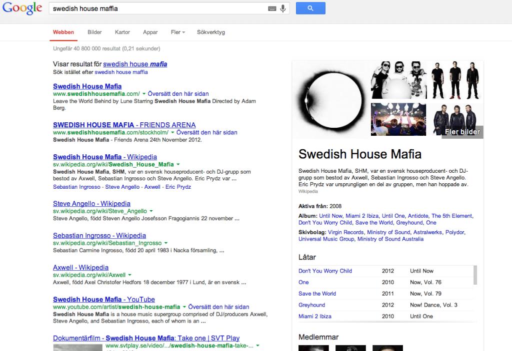 En googlesökning på Swedish House Mafia