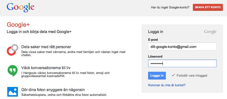 Uppgradera till Google Plus