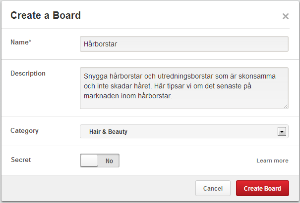 Skapa Board på Pinterest