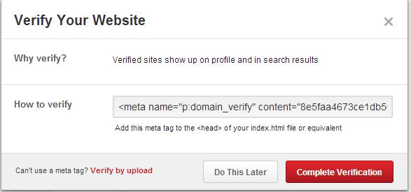 Verifiera webbplats på Pinterest