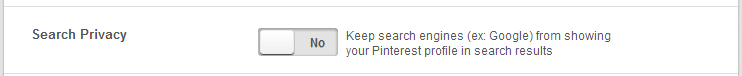 Tillåt sökmotorer på Pinterest