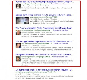 Bild Sökresultat med google authorship