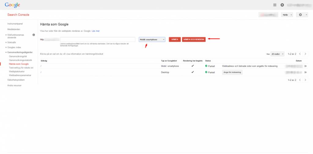 Search Console–Hämta som Google
