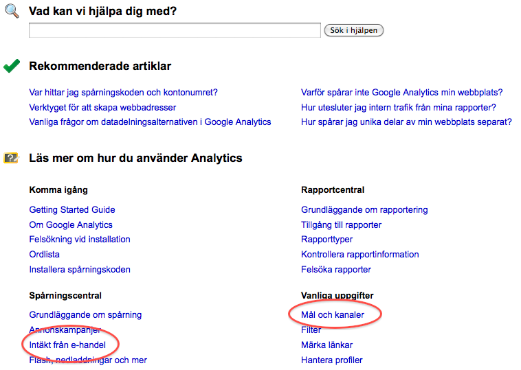 Google Analytics support