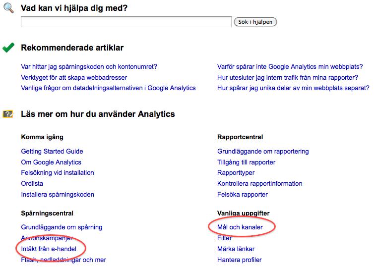 Google Analytics support