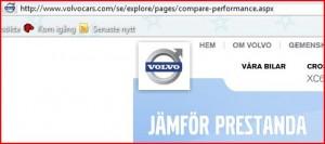 Landningssida Volvo adwords