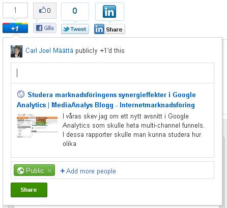 Integrering med Google +1 knappen