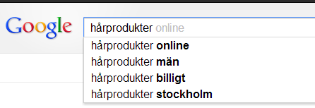 Google suggest harprodukter